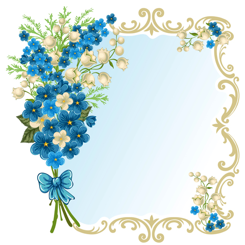 Beautiful flower with retro frame vector material 06 free download