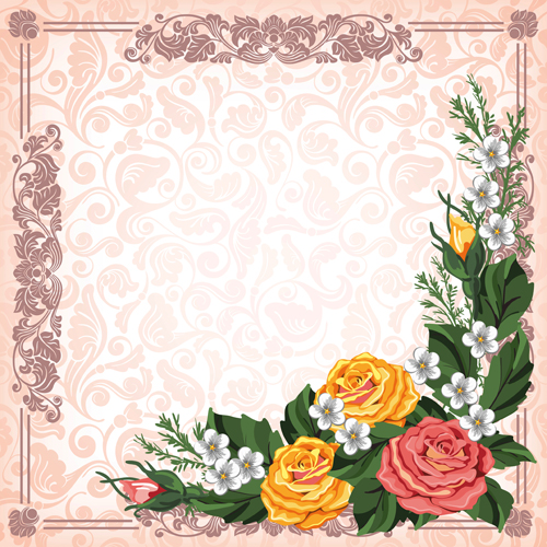 Beautiful flower with retro frame vector material 08 free download