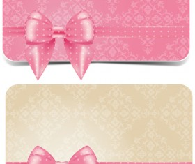 Beautiful pink bow business card vecto