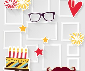 Birthday cake with photo frame vector