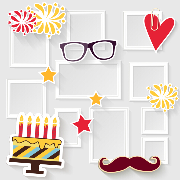 Birthday cake with photo frame vector free download