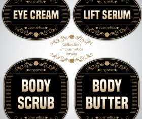 Black cosmetics labels vectors 01