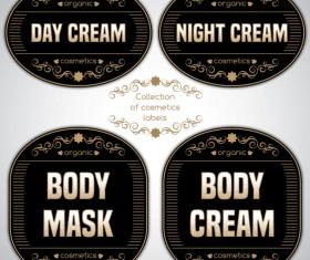 Black cosmetics labels vectors 02