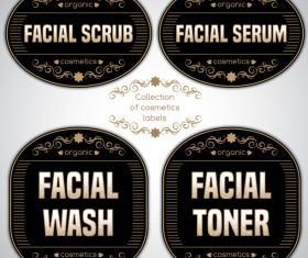 Black cosmetics labels vectors 03
