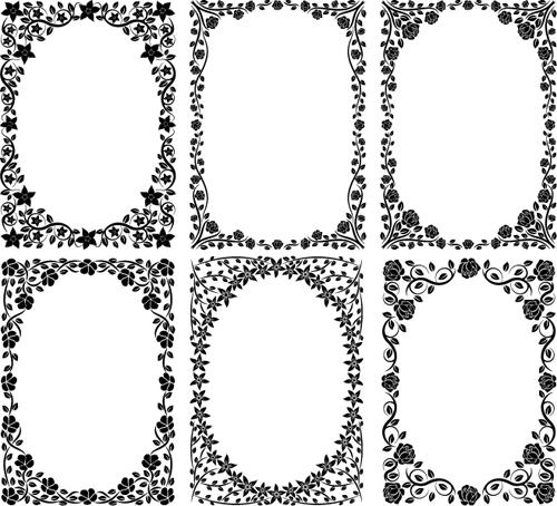 Black floral frame vector free download