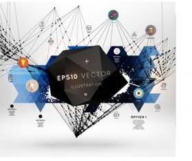 Black geometric polygonal with infographics vector 07