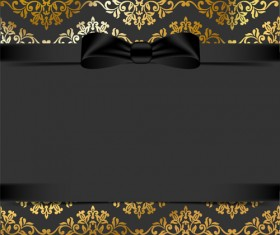 Black ornate background with black bow vector 04
