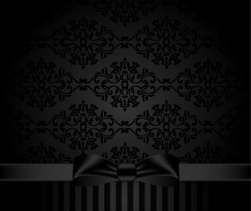 Black ornate background with black bow vector 05