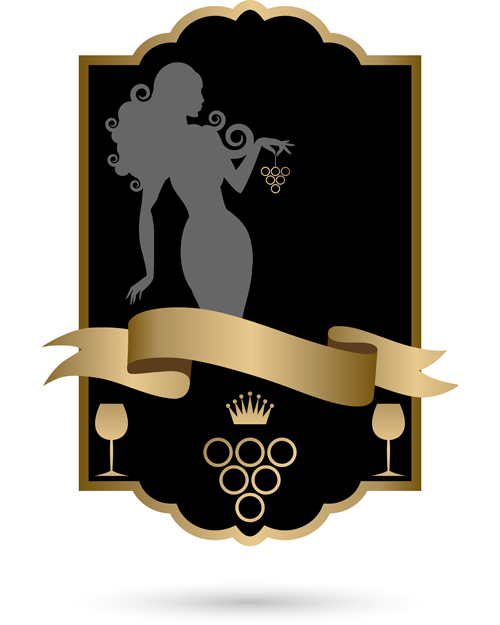 Black wine lables with golden ribbon vector design 01