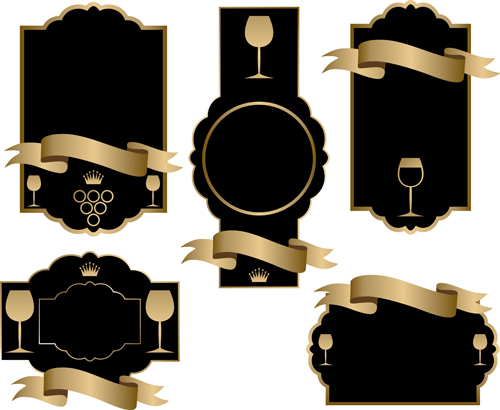 Black wine lables with golden ribbon vector design 02
