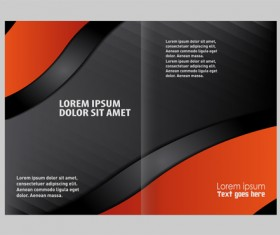 Black with red brochure cover template vector 01