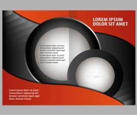 Black with red brochure cover template vector 02