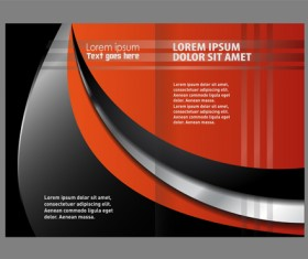 Black with red brochure cover template vector 03