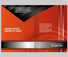 Black with red brochure cover template vector 06