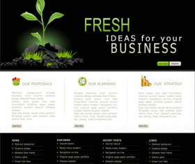 Black with white styles website template vector