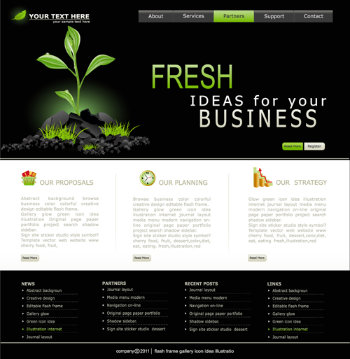 black with white styles website template vector free download