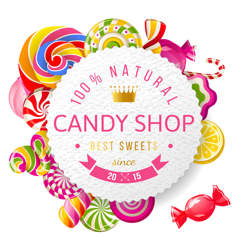 candy shop background with crown vector 01 vector