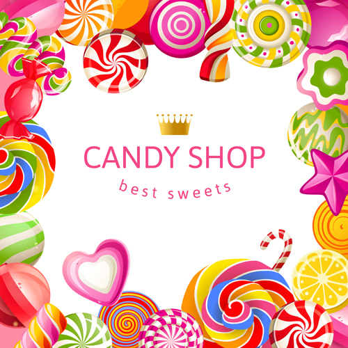 candy shop background with crown vector 03 vector