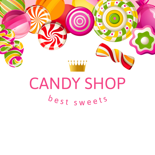 Candy shop background with crown vector 04