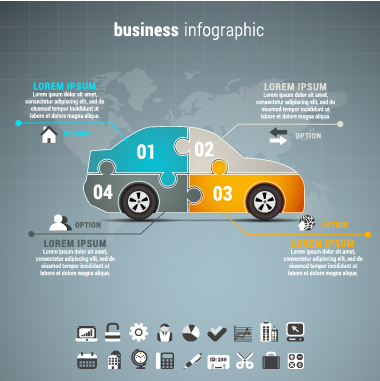 Car business infographic vector material