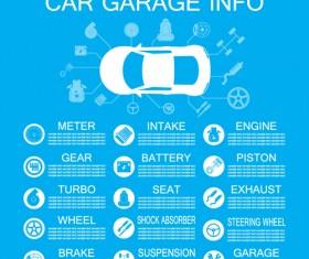 Car garage info template vector material