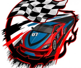 Car racing with flag vector material 01