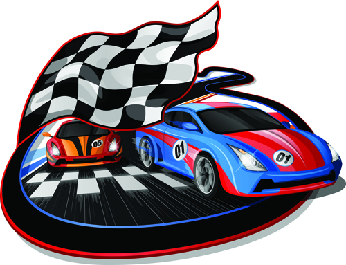 Car Racing With Flag Vector Material 02