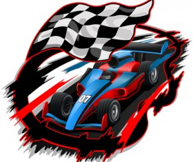 Car racing with flag vector material 03