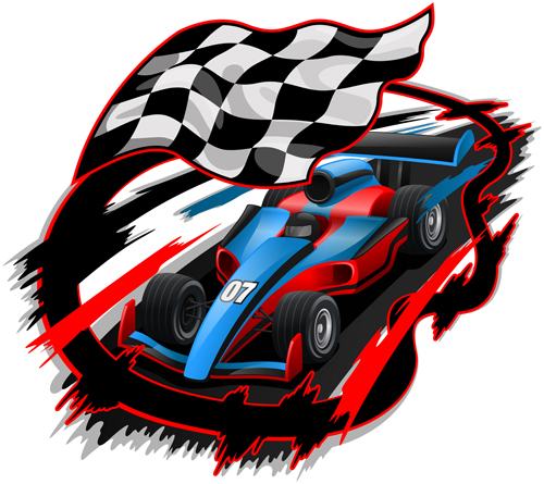 car racing with flag vector material 03 vector car free
