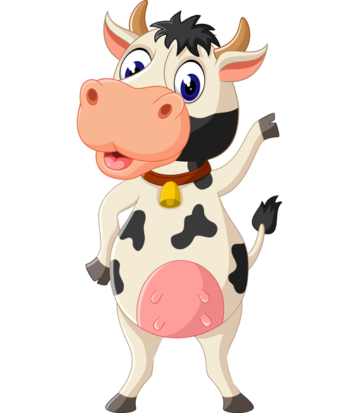 Cartoon baby cow vector illustration 04