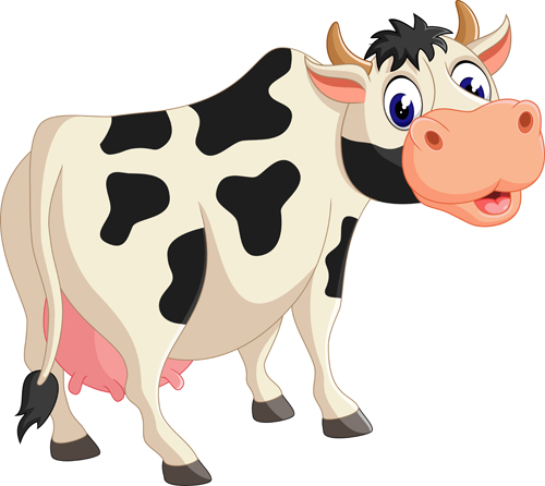Cute cartoon baby cows