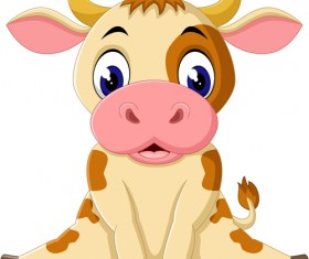 Cartoon baby cow vector illustration 07