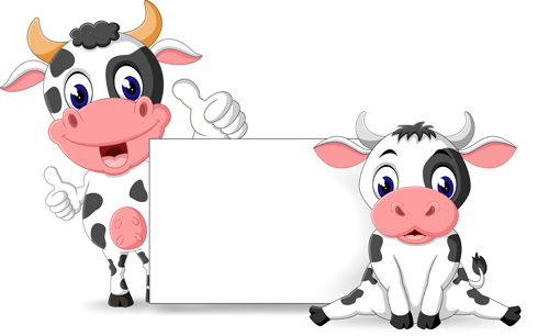 Cartoon cow with blank paper vector 01