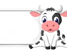 Cartoon cow with blank paper vector 02