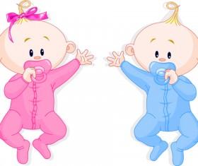 Cartoon cute baby vector illustration 01