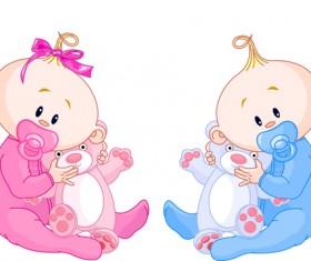 Cartoon cute baby vector illustration 02