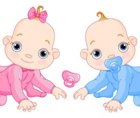 Cartoon cute baby vector illustration 03