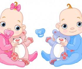 Cartoon cute baby vector illustration 04