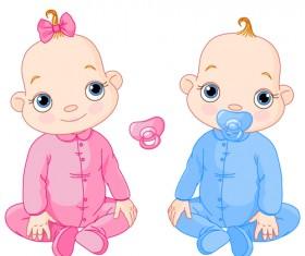 Cartoon cute baby vector illustration 05