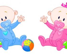 Cartoon cute baby vector illustration 06