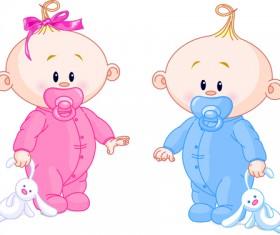 Cartoon cute baby vector illustration 07