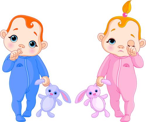 Cartoon Cute Baby Vector Illustration 08 Vector Cartoon