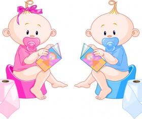 Cartoon cute baby vector illustration 12