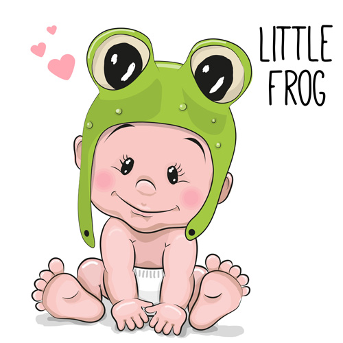 Cartoon little baby vector material 05
