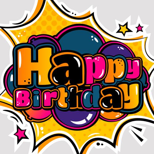 Cartoon Styles Happy Birthday Design Vector 08