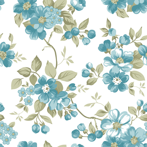 Clair Floral Seamless Pattern Vector 01 Vector Floral