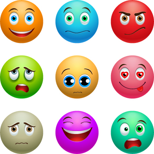 Colored Emoticons Icons Set Emoticons Icons Free Download