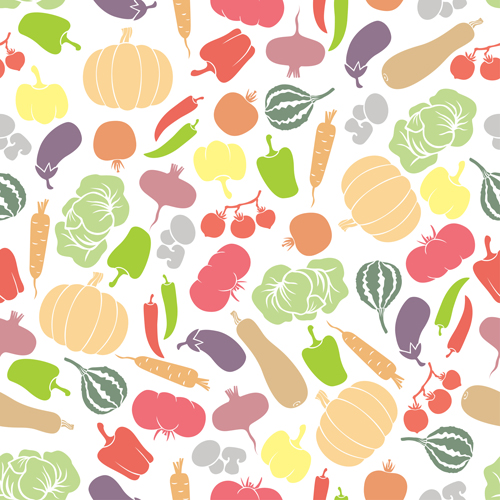 Colored Vegetables Seamless Pattern Vector 01 Vector