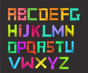 Colorful origami letters vector set