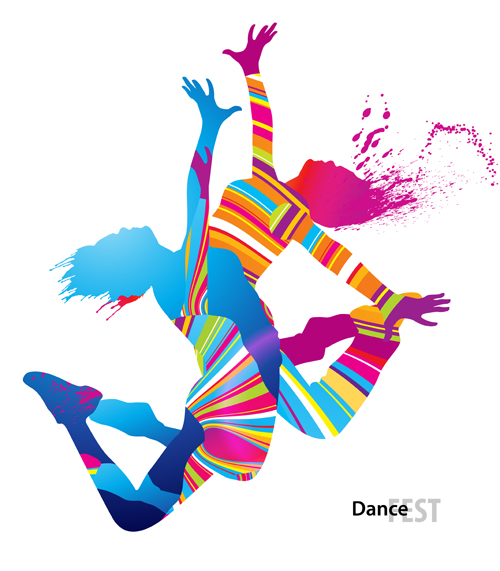 Colorful pint with dancers vector material 05